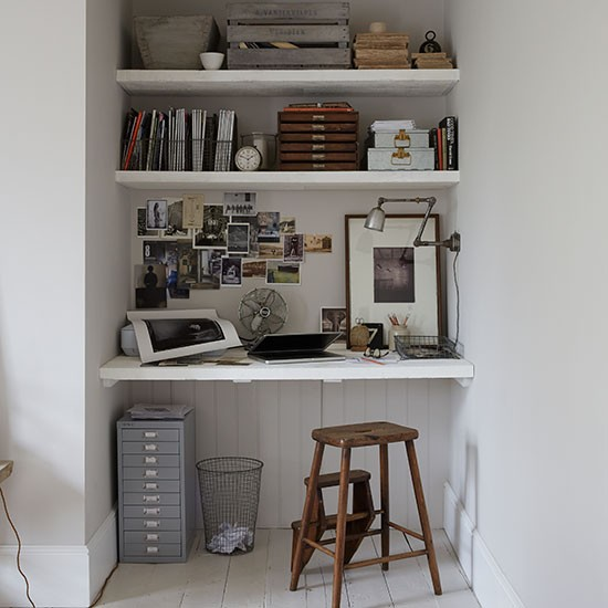 Industrial Style Victorian Terrace Pale Grey Home Office Livingetc Housetohome